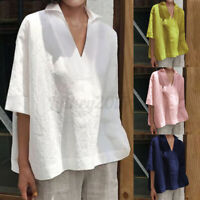 Women Linen Cotton Long Shirt Tops 3/4 Sleeve Lapel Loose Blouse Tee T-Shirt NEW