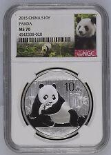 2015 China Panda NGC MS 70 S10Y 1oz .999 Fine Silver Chinese Coin Graded 10 Yuan