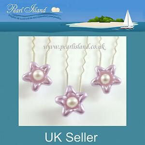 3 x Freshwater Pearl in Lavender Flower Hair Pins