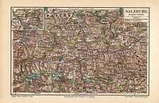 Old map landkarte Salzburg Austria Oostenrijk 1907 antique karte