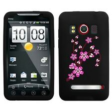 Black Spring Flowers Rubber SILICONE Skin Soft Gel Case Cover Sprint HTC EVO 4G