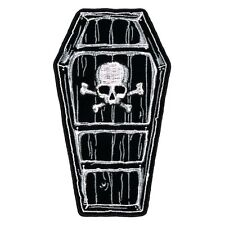 Coffin SKULL Patch EMROIDERED IRON ON 5.0 INCH MC BIKER PATCH