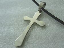 Edelstahl Kreuz Ketten Anhänger mit 50 cm Leder Kette Rinds -Lederkette