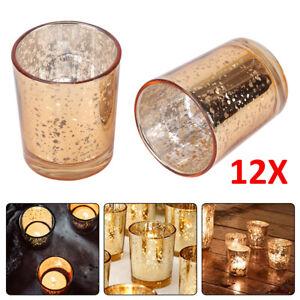 Set of 12 Mercury Glass Tea Light Candle Holders Votive Home Wedding Decor Gold
