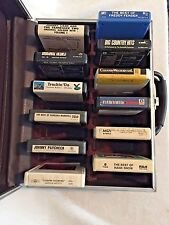Vintage 8 Track Carry Case Brown Faux Leather Holds 24 Tapes Portable Storage
