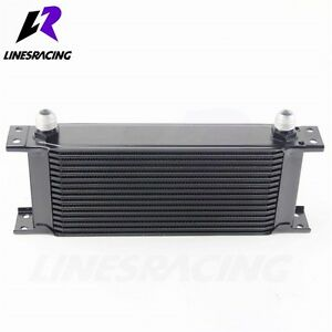 16 Row 10AN Universal Engine Transmission 248mm Oil Cooler Kit Black Fits Mit...