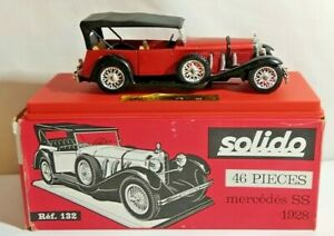 SOLIDO AGE D'OR 1:43 SCALE 1928 MERCEDES SS - RED & BLACK - #132 - BOXED