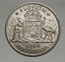 1944 AUSTRALIA - FLORIN Large SILVER Coin King George VI Coat-of-Arms i56694