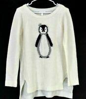 LC Lauren Conrad Women's M Long Sleeve Crown Penguin Knit Sweater Cream Ivory