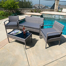 4 PC Outdoor Rattan Furniture Set Loveseat Sofa Cushioned Patio Set Garden, Gray