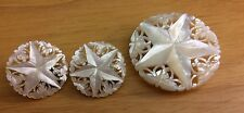 Vtg Carved MOP Mother of Pearl Star Brooch Pin & Clip On Earrings