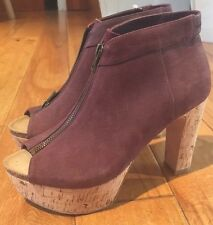 80%20 Burgundy Maroon Suede Platform Open Toe Ankle Booties Boots 8.5 Fits 9