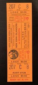 1974 HOF Clark Gillies First Career Goal #1 Full ticket stub New York Islanders