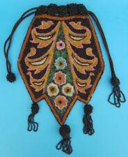Antique Vintage Beaded Art Deco Drawstring Floral Purse Handbag Made In France