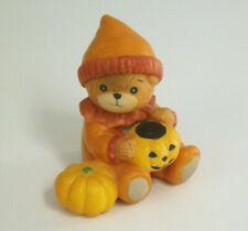 Lucy Rigg Vintage Lucy & Me Halloween Bear Holding Jack O' Lantern Enesco 1985