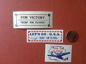 "WWII Patriotic poster stamps (x3) - ""Keep 'Em Flying"""