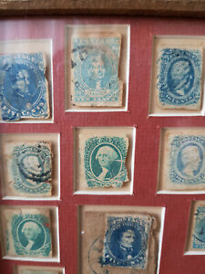 1861/3 Confederate States, war time vintage stamps, framed CAT VALUE £ 2,538.00