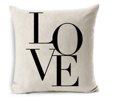 Cushion Cover Pillow Case LOVE Print for Sofa Seat Bed Home Decor Quality Linen