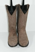 WOMENS 7 BROWN LEATHER ROUND TOE CLASSIC WESTERN COWBOY BOOTS