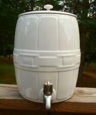 Longaberger Woven Traditions Ivory Pottery 8 Qt Beverage Dispenser Keg w/Spigot