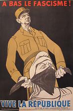 1951 ORIGINAL FRENCH DE GAULLE POSTER, ANTI-FACIST VINTAGE PROPAGANDA - FOUGERON