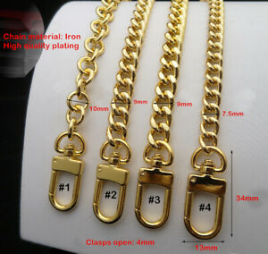 PURSE SHOULDER CROSSBODY CHAIN STRAP METAL REPLACEMENT GOLD  High Quality