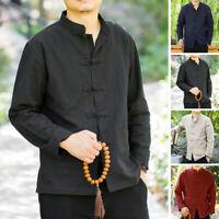 Mens Retro Chinese Style Long Sleeve Linen Shirts Kung-Fu Blouse Shirt Tops Tees