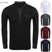 Men Casual Stand Collar Long Sleeve Polo T-Shirt H1PS
