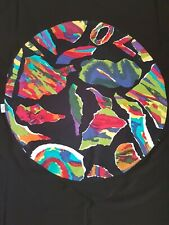 Stunning Vintage 1980s Jenny Kee Black OPAL Fabric on a  black tablecloth