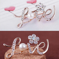 Wedding Party Bridal Rose Gold Crystal LOVE Flower Brooches Pin Fashion Jewelry