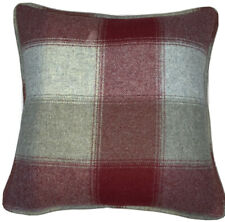 A 16 Inch cushion cover in Laura Ashley Keswick Check Cranberry Wool  Fabric