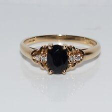 Sapphire Solitaire con accenti di diamanti 9 carati oro giallo Anello Taglia R ~ 8 3/4