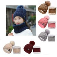 Winter Warm Women's Ladies Hat And Scarf Set Knitted Neck Warmer Beanie Ski Cap