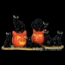 *HALLOWEEN CATS* Spooky Town Resin Witch Pumpkin Figurine By Lemax (5cm)