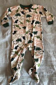 Carter's Boys Footie One Piece Zipper Dinosaur Fleece Pajamas (Size 18 Months)