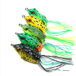 5PCS Frog Topwater Fishing Lure Crankbait Hooks Bass Bait Tackle Cute Durable PP