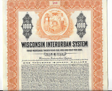 WISCONSIN INTERURBAN SYSTEM RR Stock Certificate- GOLD BOND
