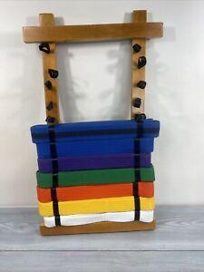 12 Level Martia Arts Belt Natural Wood Display Rack Holder Karate Taekwondo