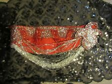 Professional Belly Dance costume Egyptian unique looped fringe worn twice red/sl