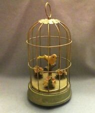 Vtg Automaton Canary Bird In Cage Mechanical Wind Up Music Moving Perch WORKS