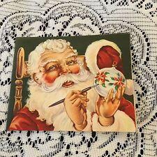 Vintage Greeting Card Christmas Santa Claus Painting Ornament