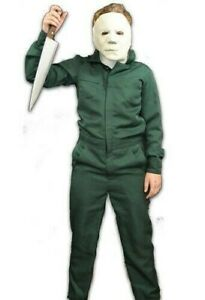 Boys Michael Myers Costume Halloween II Coveralls & Mask Kids 80s Horror Outfit