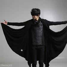 Men Gothic Cadigan Coat Long Jacket Cape cloak Poncho Parka Outwear Black US 2XL