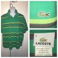 Lacoste Men's Devanlay Green Striped 100% Cotton Pique Polo Shirt Sz 9 4XL VGUC