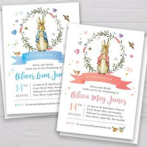 10 Personalised Peter Rabbit Christening Baptism Naming Day Party Invitations