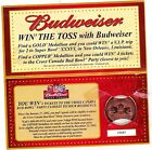 BUDWEISER NFL SUPER BOWL COMMEMORATIVE MEDALLIONS COPPER CONTEST WITH CARD
