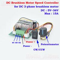Details about  /3-phase DC 7V-24V 12V Brushless Hallless Motor Pump Driver ESC Speed Controller