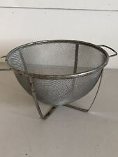 Vintage Metal Fine Wire Mesh Strainer Colander with Handles and Stand