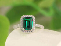 3ct Emerald Cut Green Emerald & Diamond Engagement Ring 14K White Gold Finish