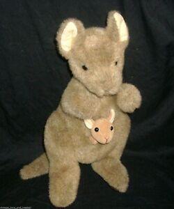 """12"""" VINTAGE GUND BROWN TAN POCKETS KANGAROO W BABY 2827 STUFFED ANIMAL PLUSH TOY"""